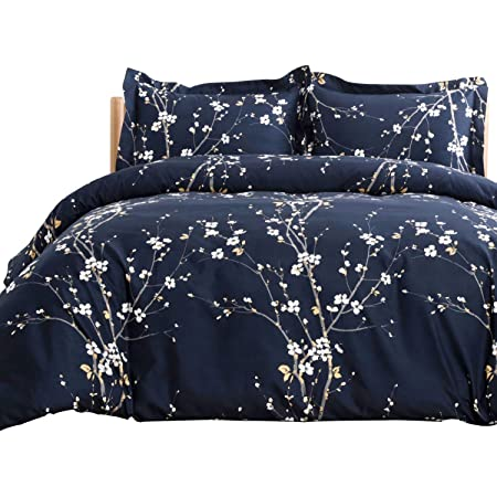 Bedsure Spring Bloom Pattern Bedding Set Full/Queen (90x90 inches) Duvet Cover Set Navy Printed Modern Comforter Cover-3 Pieces-Ultra Soft Hypoallergenic Microfiber
