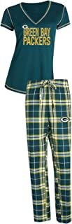 Concepts Sport Green Bay Packers NFL Super Duo Women's T-Shirt & Flannel Pajama Sleep Set