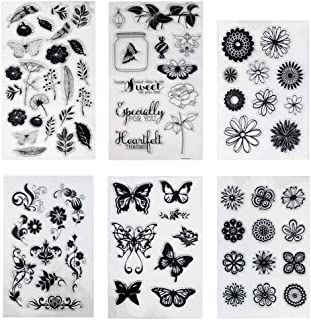 Hyamass Pack of 6 Sheets Mix Style Flower Butterfly Clear Rubber Stamp for Card Making Decoration and Scrapbooking