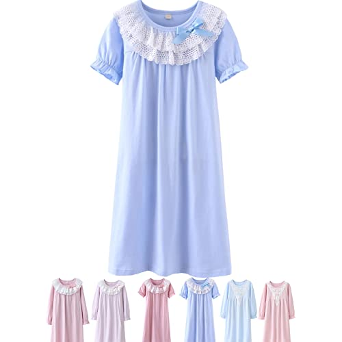Abalacoco Girls Kids Princess Lace Nightgown Long Sleeve Cotton Sleepwear  Dress Pretty V-Neck Loose 55418bcd2