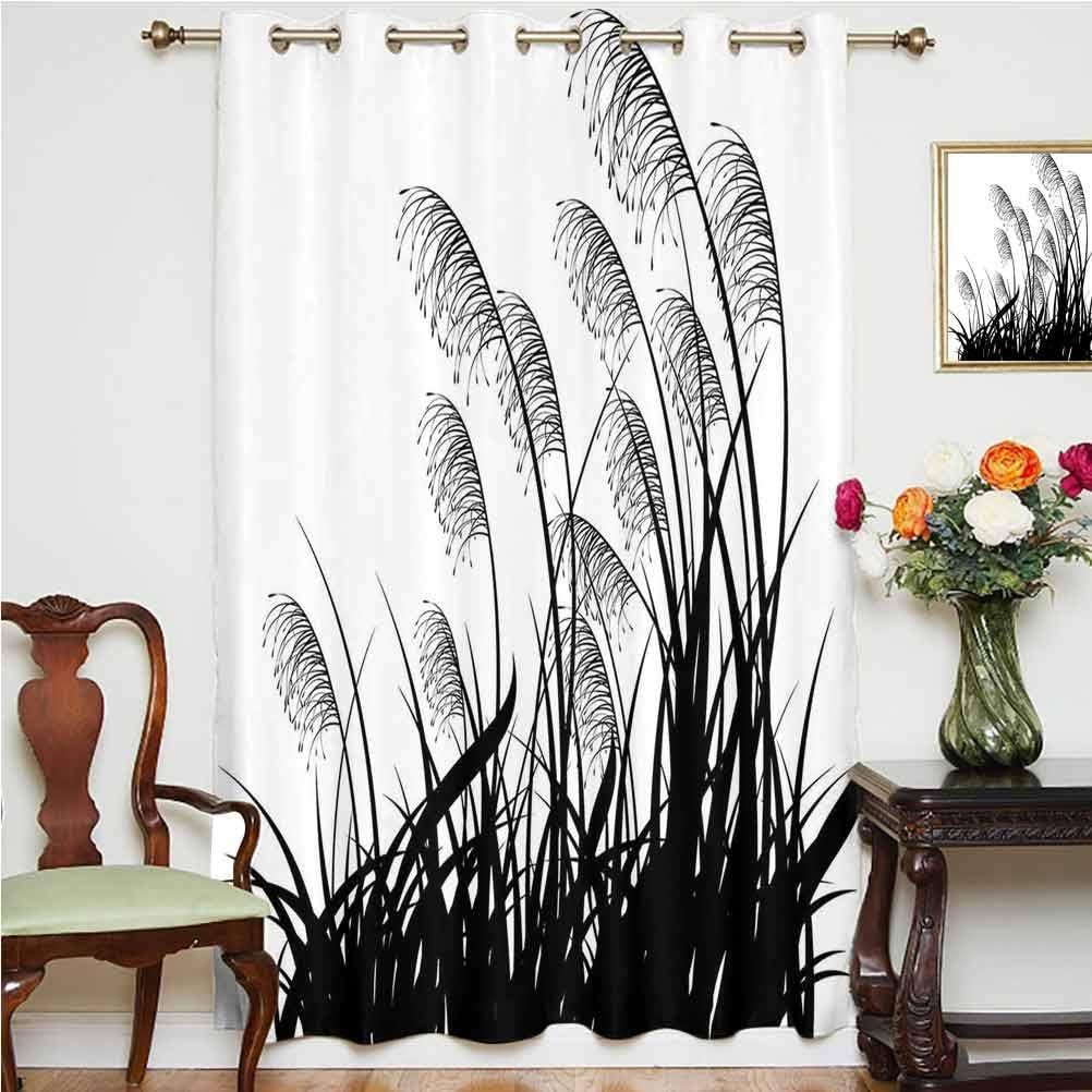 Cortinas opacas de color blanco y negro con silueta de arbustos, plantas silvestres y hierbas silvestres, diseño de rayas, color blanco