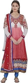 Red and White Net Long Anarkali Kurta Churidar Dupatta Set su19