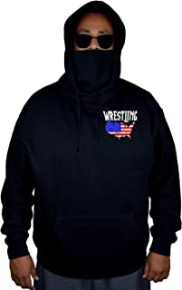 Men's Wrestling American Flag Map Black Mask Hoodie Sweater