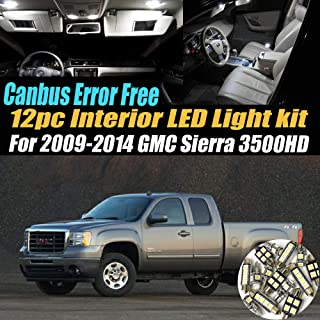 12Pc Canbus Error Free Super White 6000K Car Interior LED Light Kit Compatible for 2009-2014 GMC Sierra 3500HD Equipped w/Advanced Computer system