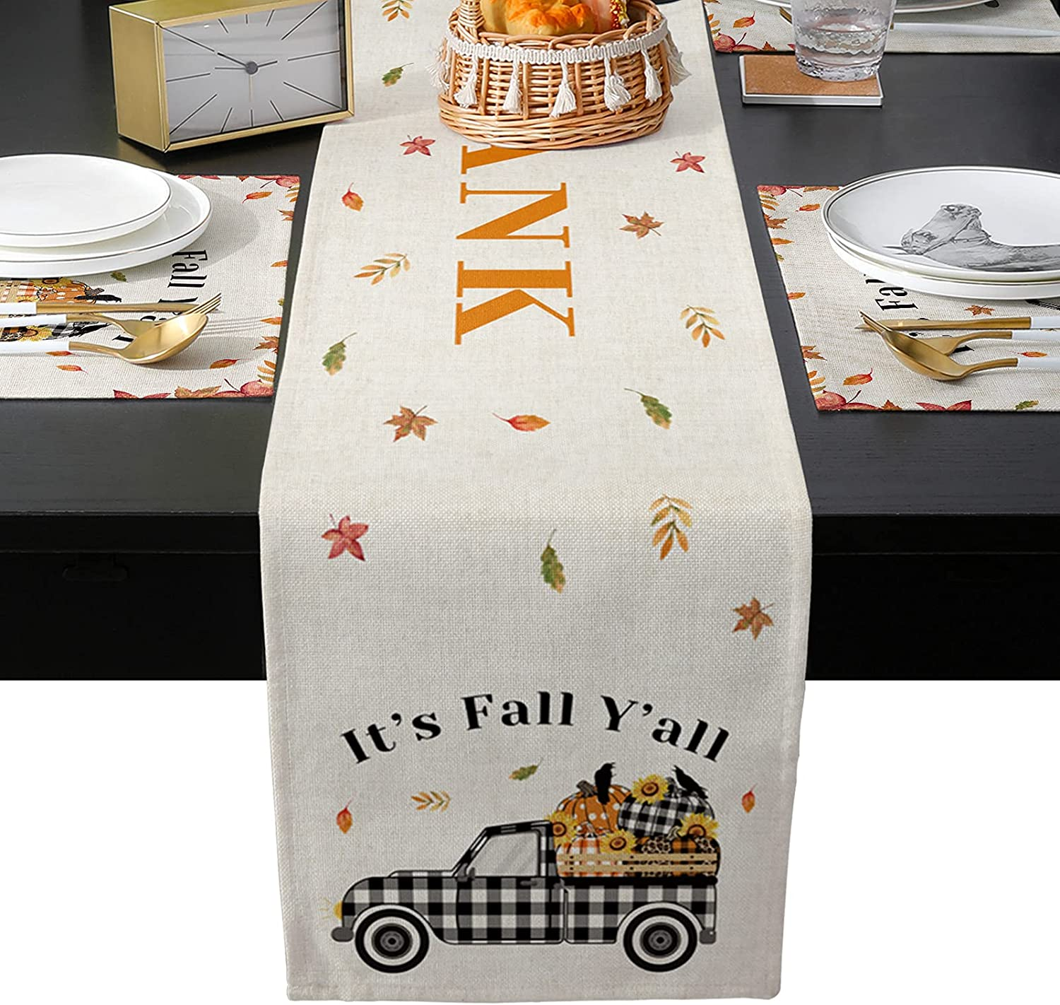 Table Runner Sets with 6 Autumn Thanksgiving T 25% OFF Pumpkin Memphis Mall Placemats
