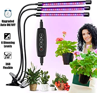 MoKasi LED Grow Light for Indoor Plant - 60W Tri Head Red Blue Spectrum Clip On Desk Growing Lamp with 6 Dimmable Levels Auto Timer Perfect for House Garden Hydroponics Succulent Adjustable Gooseneck