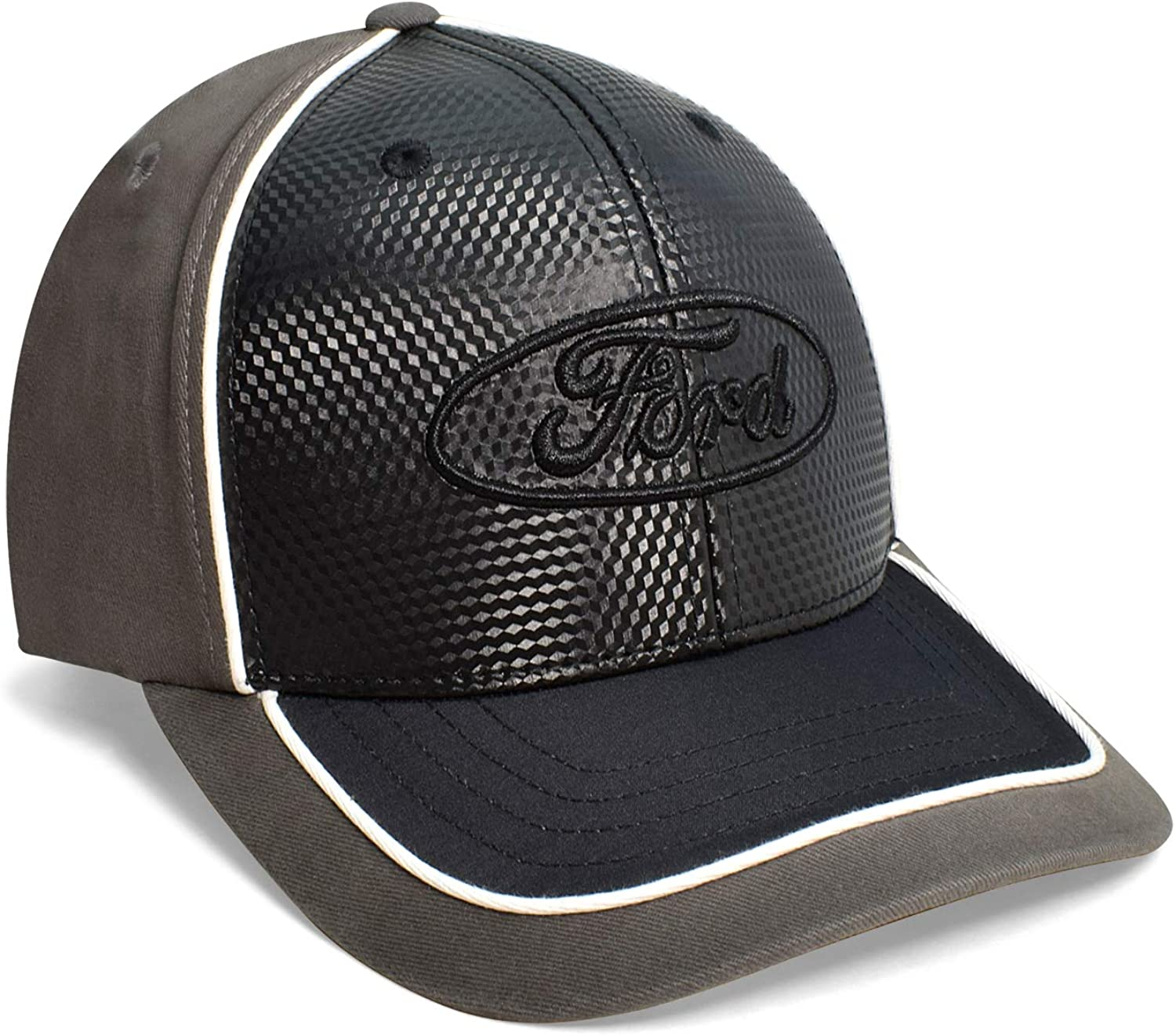Checkered Flag Black Front Gray Sprots Baseball Cap for Ford