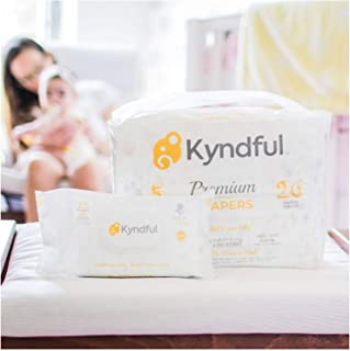 (1-Month Bundle) Kyndful Organic Diapers + Baby Wipes (06-13 Lbs, Size 1): 168 Chlorine Free Diapers (4 Packs) w/Overnight Leak-Stop Comfort + 216 ct. Natural & Unscented Wipes (3 Flip-Top Packs)