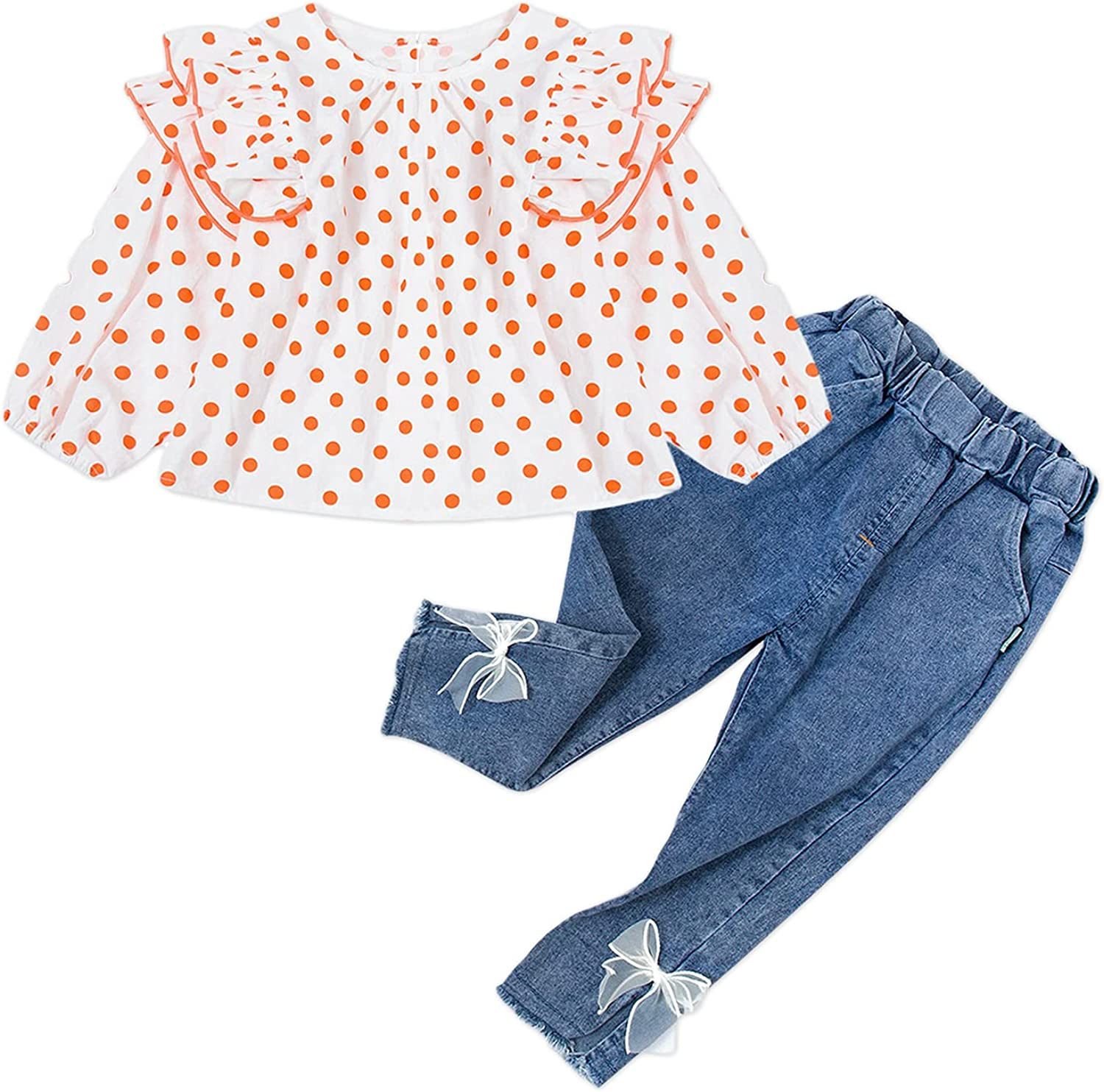 Fall Toddler Baby Girl Clothes Size 9M-5T long Sleeve Tops Coat + Denim Pants Set Outfit