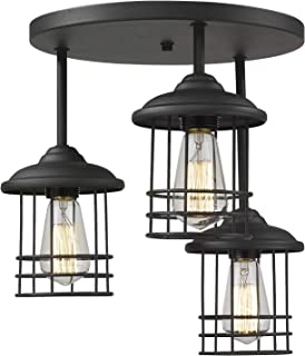 Emliviar Semi-Flush Mount Ceiling Light, 3-Light Close to Ceiling Light Fixture with Metal Cage in Black Finish, 1803CW1-D-3 BK