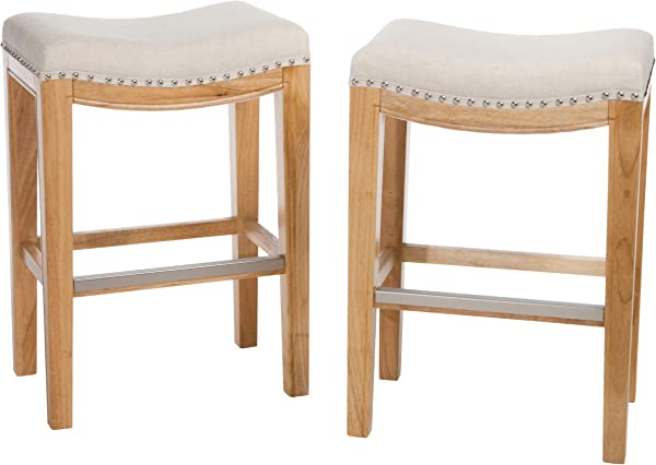Christopher Knight Home 237492 Jaeden Beige Backless Counter Stool Set Of 2 BrownWhite