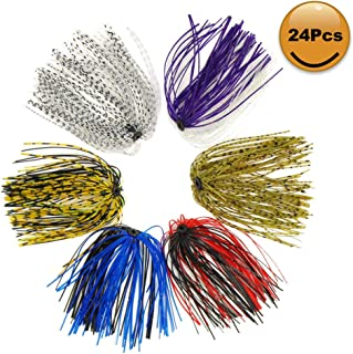 Croch Silicone Jig Skirts DIY for Rubber Fishing Bass Jig Lures 24 Bundles 50 Strands Fishing Bait Accessories