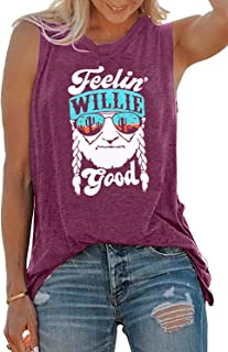 MOUSYA Women Tank Top Feelin' Willie Good Letter Printed Shirt Funny Graphic Tee Summer Casual Sleeveless Vest Tops