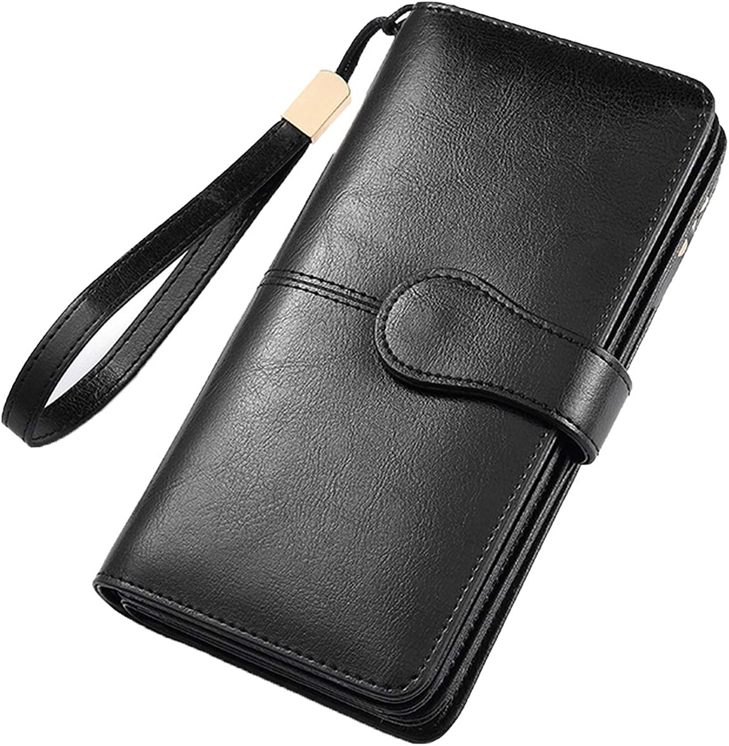 Wallet Women Long Split Leather Folding Wallet Ladies Purse Thin Female Wallet With Wrist Let Strap For Coin,Black