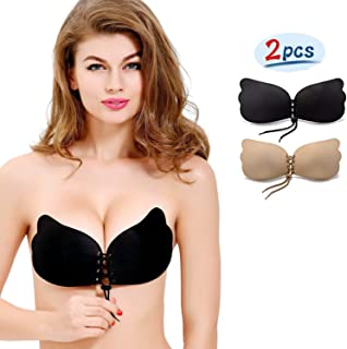 8832ed296e8fb NALIA Strapless Backless Invisible Push-up Silicone Bra  New Version  (2  Pack