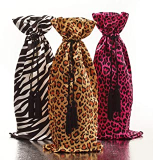 Animal Print Wine Bag Bottle Gift Drawstring Covers (Set of Three) Leopard Pink Leopard and Zebra Home Party Decoration Dinner Table Carrier Holder Bar Décor