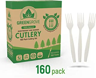 100% Compostable Forks in White- 160 Large Biodegradable Ecofriendly Utensils. Sturdy 7
