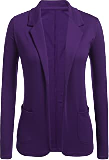 Womens Open Front Blazer Long Sleeve Slim Fit Work Office Cardigan Jacket