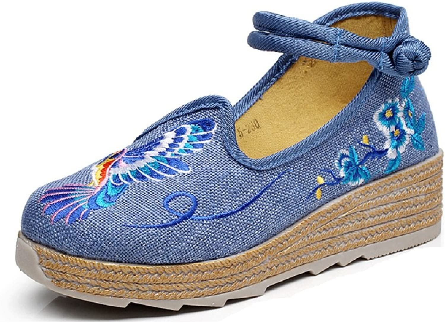 Tianrui Crown Women's bluee Bird Embroidered Wedge Platform Mary-Jane shoes Sandals