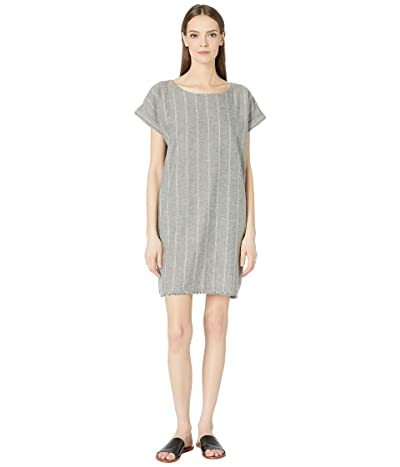 Eileen Fisher Organic Cotton Hemp Striped Shift Dress (Moon) Women