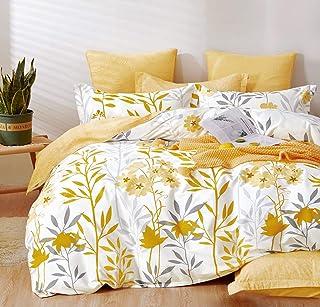 SLEEPBELLA Duvet Cover Set 600 Thread Count Cotton Bedding Set (Twin, Yellow)