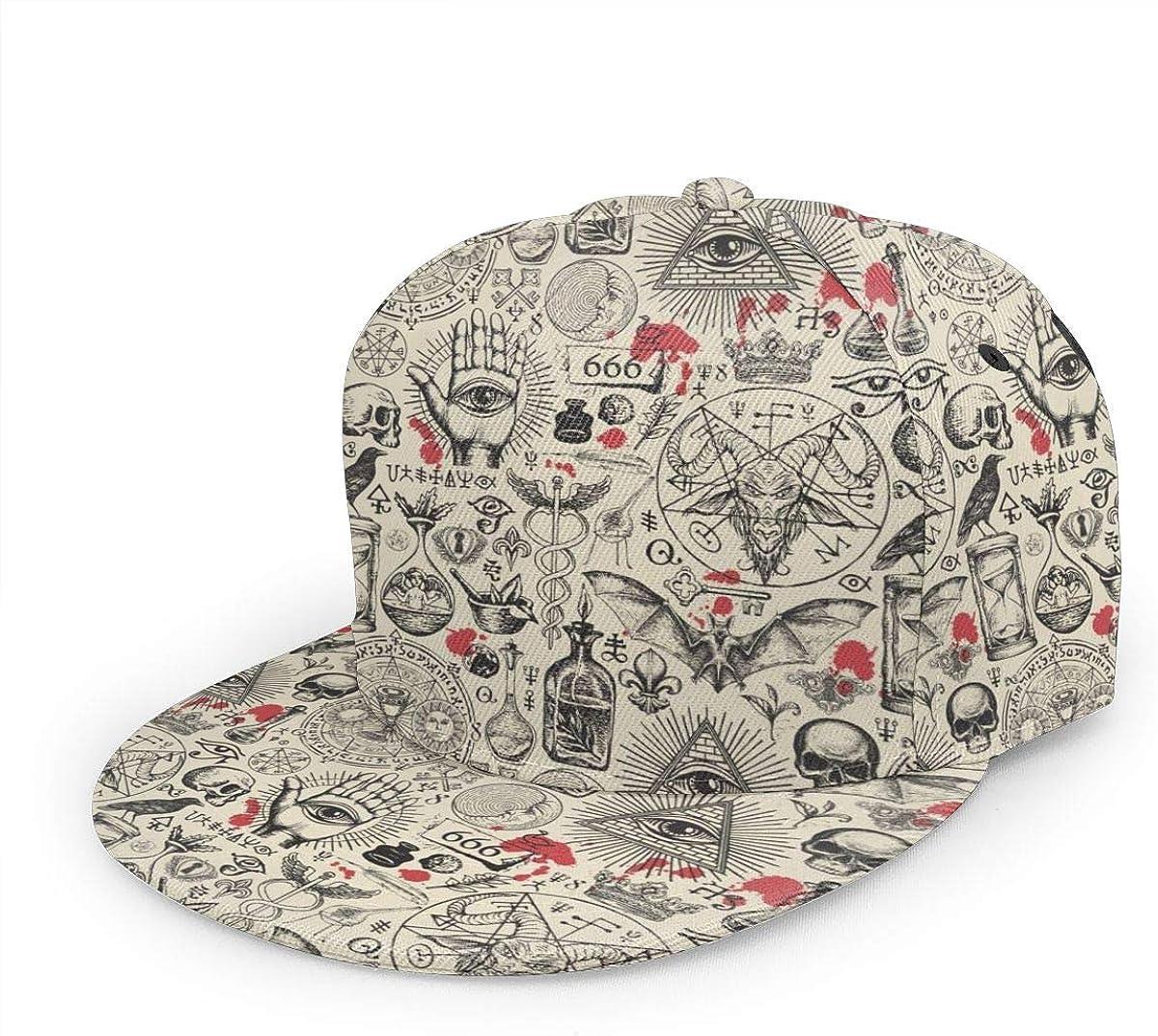 antkondnm Abstract Pattern On Occult Theme Flat Bill Brim Cap, Cool Hip Hop Trucker Hat Men Women Adjustable Baseball Caps