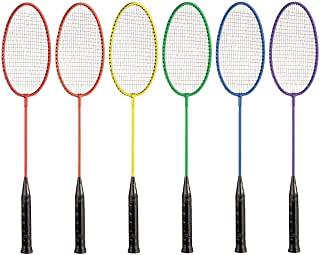 Champion Sports Tempered Steel Badminton Rackets with Steel Coated Strings Set of 6