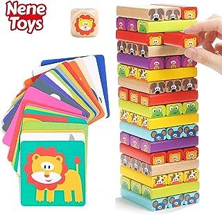 Nene Toys - Torre de Bloques de Madera 4 en 1 con Colores y Animales – Juguete Educativo para Niños Niñas de 4 a 8 años – Juego de Mesa Infantil ideal como Regalo para Compartir entre Padres e Hijos