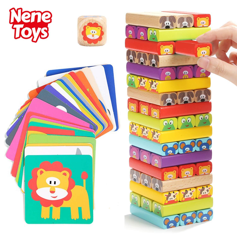 Nene Toys - Torre de Bloques Infantil de Madera 4 en 1 con Colores ...