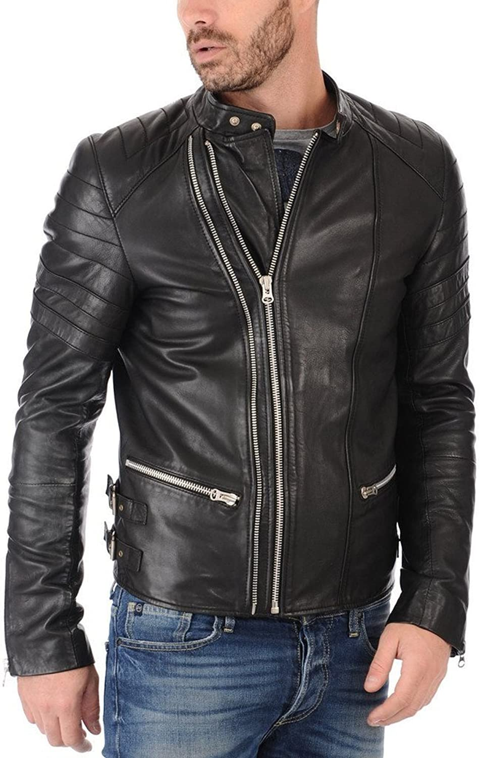 New Motorcycle Designer Styles Mens Genuine Leather Jacket LF743