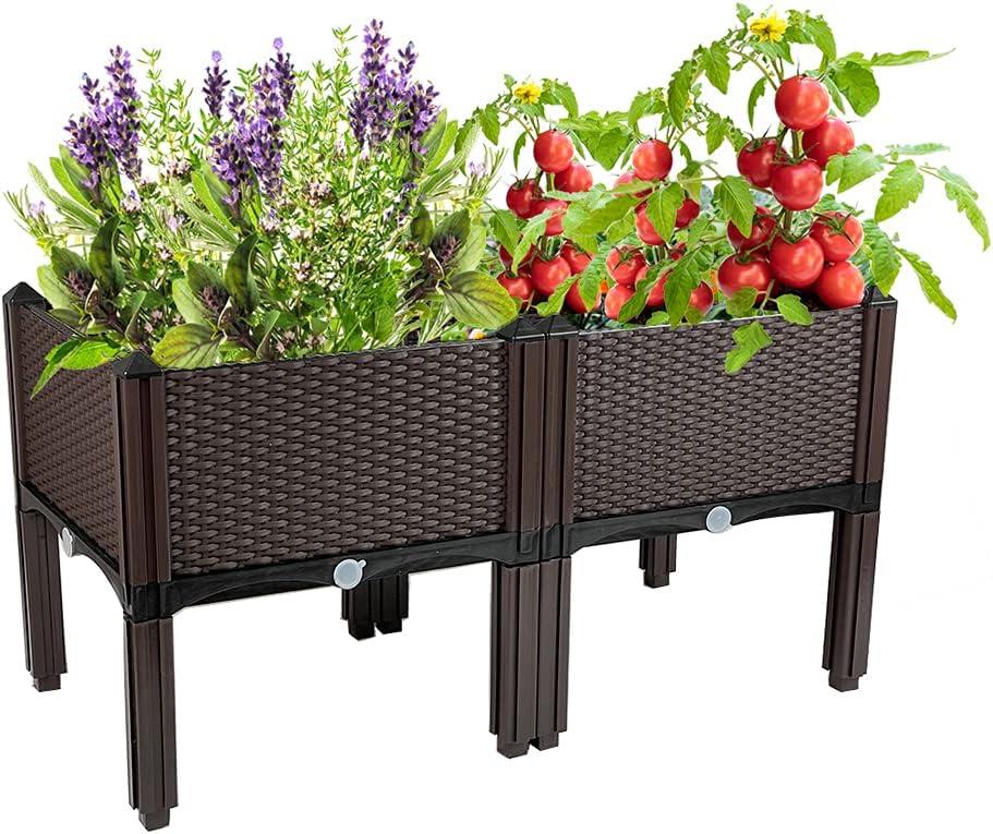 Raised Garden Beds in/Outdoor, Gardening Pots with Self-Watering Design and Legs, Great for Outdoor Patio, Deck, Balcony
