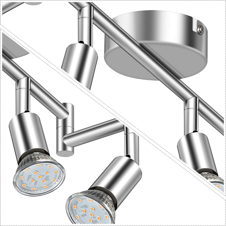 Defurhome LED Deckenleuchte Drehbar, 6 Flammig LED Strahler Deckenlampe Spot,Modern Deckenstrahler (Mattes Nickel), inkl. 6 x 3.5 W GU10 LED Lampen (380LM, warmweiß) Weißes Chrom
