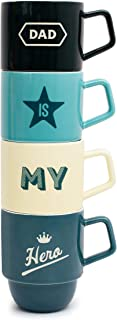 Father Stacking Mugs Gift Set 4 Dad Is My Hero Ceramic Cups