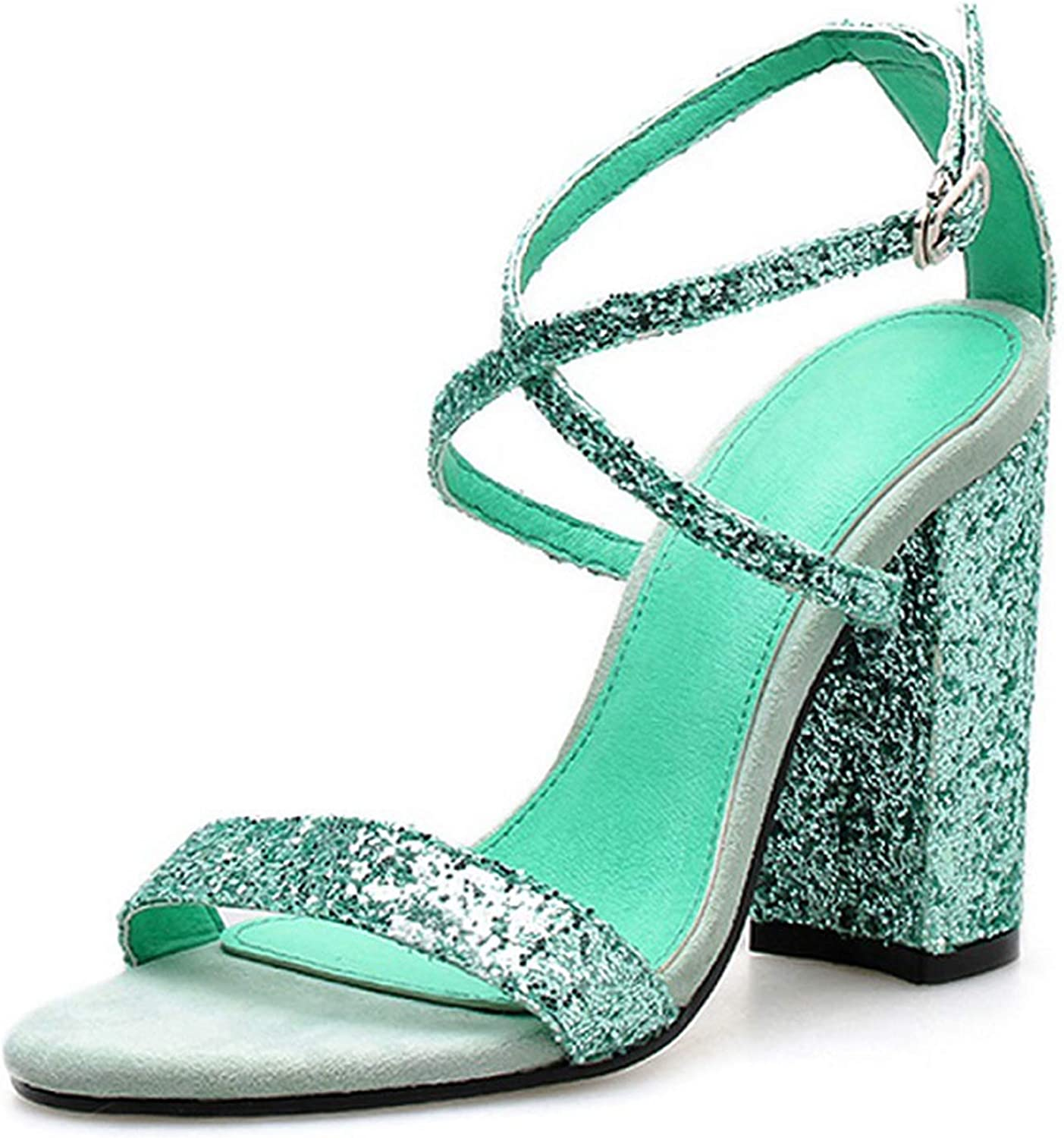 April With You Summer Ladies Sexy Fashion Sequins Pointed Buckle Open Toe Cross Straps Thick Heel High Heel Sandals