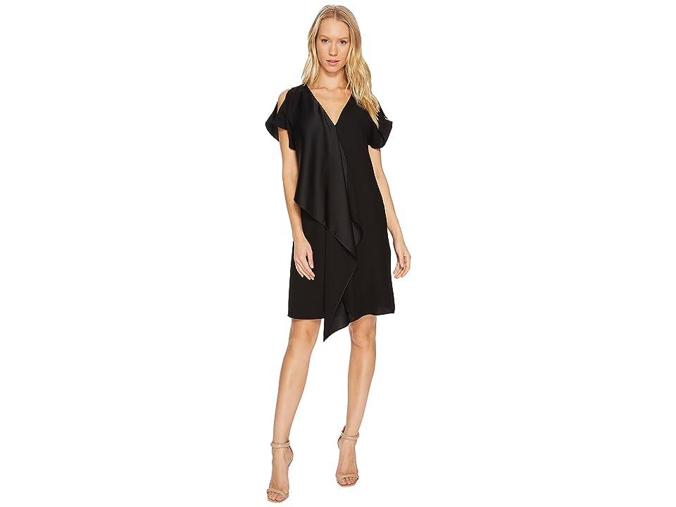 Adrianna Papell Crepe Back Satin Ruffle Shift Dress (Black) Women