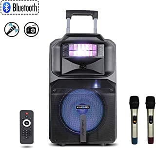 Starqueen 12Inch Trolley Bluetooth PA Speaker with 2 Wireless UHF Microphones, Battery Powered Rechargeable Karaoke DJ Speaker with Led Lights, Active Loud Digital Sound System, FM/ MP3/USB/SD/TF/AUX