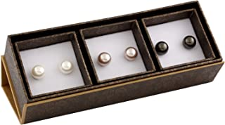 أقراط نسائية من الفضة الاسترلينية 925 مرصعة باللؤلؤ الطبيعي الملون مقاس 7 مم، 3 أزواج، أخرى، لؤلؤي، من Bella Pearls