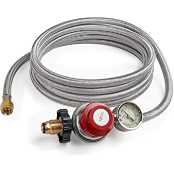 CSA 3//8 Female Flare Nut Low Pressure LP Hose and Regulator for QCC1//Type 1 Tank and Propane Fire Pit GASPRO 15ft Stainless Braided Propane Regulator with Hose Smoker Gas Grill Heater