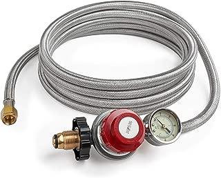 GASPRO 12 Foot 0-30 PSI High Pressure Adjustable Propane Regulator with Gauge/Indicator, Stainless Steel Braided Hose, Gas Grill LP Regulator for Burner, Turkey Fryer, Forge, Smoker and More.