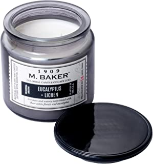 Colonial Candle M. Baker Signature Edition, Fragrance No. 16 Eucalyptus + Lichen, Medium Deco Glass Jar, 14 OZ