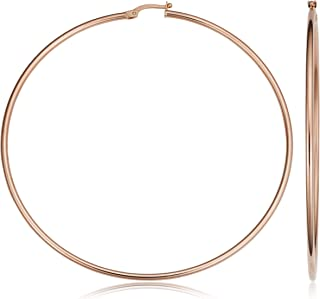 KoolJewelry 14k Rose Gold Hoop Earrings (20 mm, 25 mm, 30 mm, 35 mm, 45 mm, 70 mm or 90 mm)