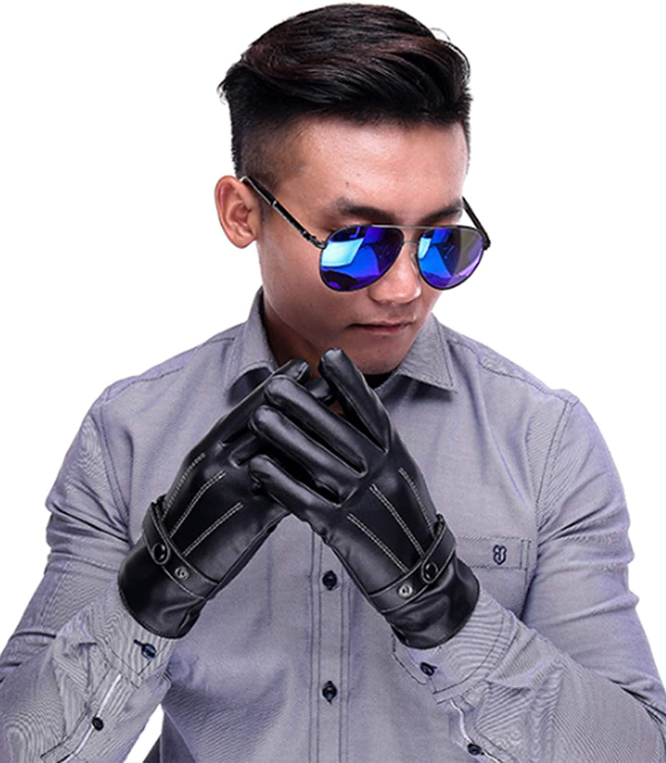 Cheap Los Angeles Mall Legou Men's PU Faux Texting Leather Touchscreen Gloves