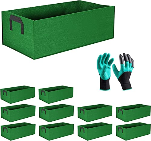 lowest labworkauto Grow Bags 9 Gallon Fabric Raised Plant Bed Plant Boxes sale Grow Pots Garden Containers with One Pair of Garden Gloves Fit for Soil Plants Flowers Vegetables Garden sale Indoor Outdoor 10 Pcs online