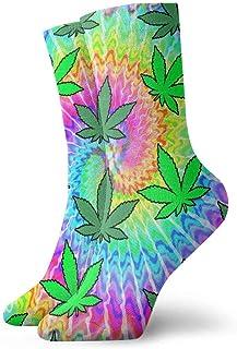 tyui7, Flower Weed Tie Dye Calcetines de compresión antideslizantes Cosy Athletic 30cm Crew Calcetines para hombres, mujeres, niños