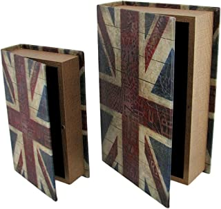 Set of 2 British Flag Print Faux Leather Book Secret Stash Boxes