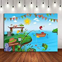 Fishing Pond Theme Summer Lake Photography Backdrop Vinyl Fishing Party Photo Prop for Children Boys Girls Birthday Banner Decoration Photo Booth Studio Supplies Pictures 5x3ft Cake Table Baby Shower