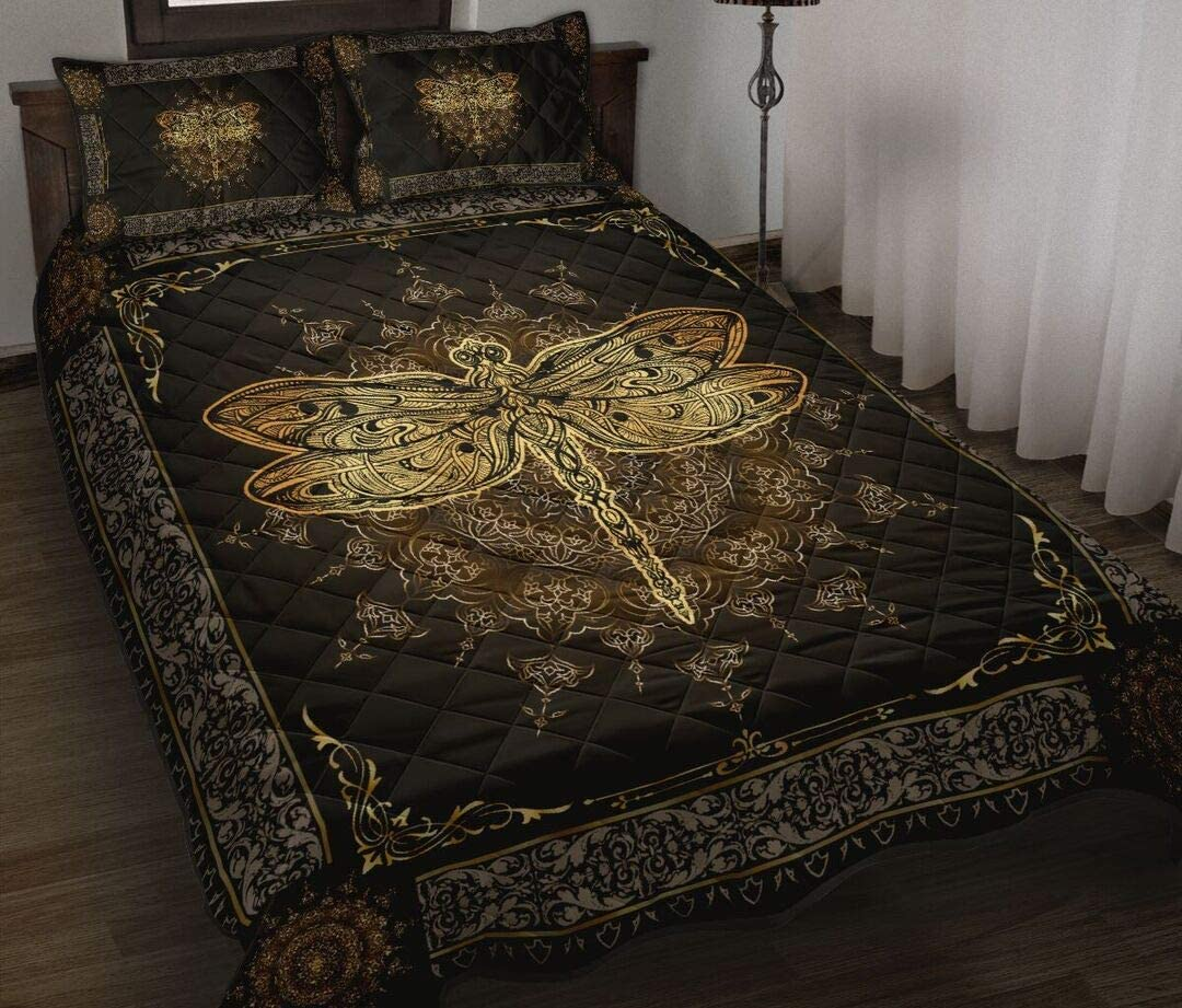 Personalized Dragonfly Gold Quilt Bed Sale item B Halloween Set It is very popular Decorative