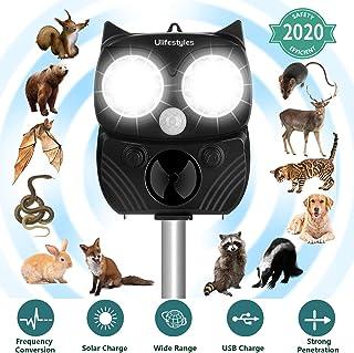 Ahuyentador de Pajaros, Resistente al Agua IP66, Carga Solar, 5 modos, Repelente Gatos Profesional de Cobertura Amplia, con Detector de Movimiento y Repelente de Pájaros Flash