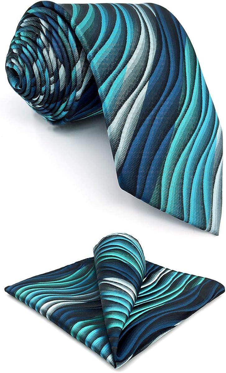 SHLAX&WING Mens Ties Ripple Blue Multicolored Silk Green Silk