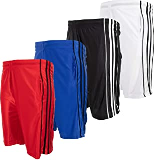 High Energy Boys Basketball Shorts with Pockets, 4 Pack, Quick Dry Mesh Athletic Sports Wear Active Wear